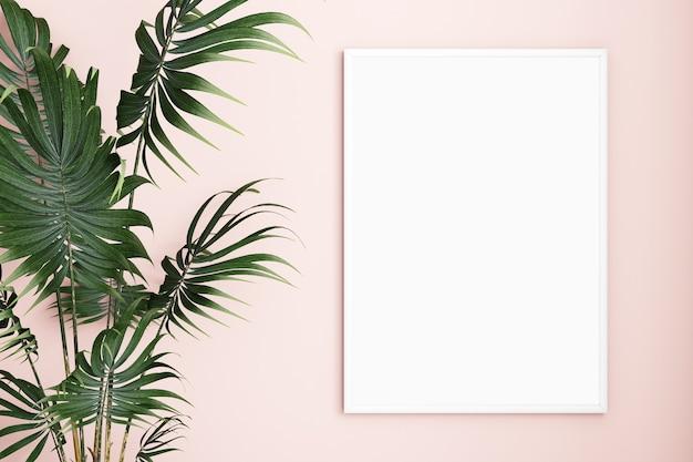 ピンクの背景にフレームモックアップa4