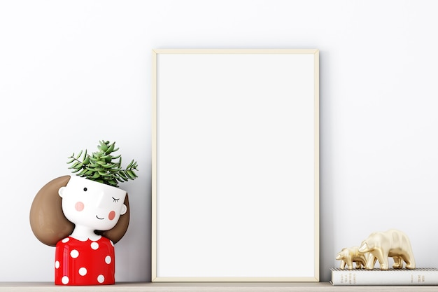 Frame mockup a4 with  gold frame and with an adorable red potty girl