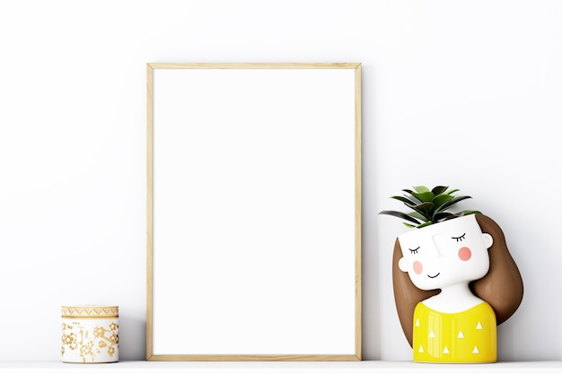Frame mockup a4 with  gold frame and with an adorable yellow potty girl Premium Photo