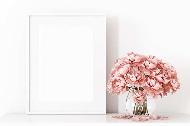 Frame mockup a4 with a pink bouquet