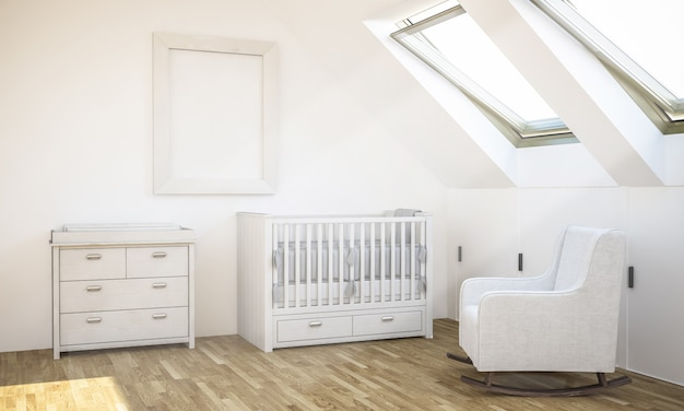 Frame mockup on baby room