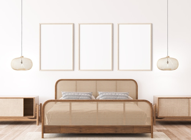 Frame mockup in bright bedroom interior mockup