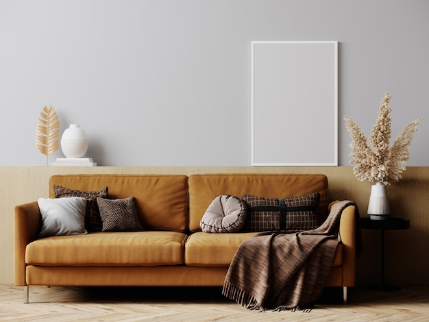 Frame mockup in bright living room design with brown sofa