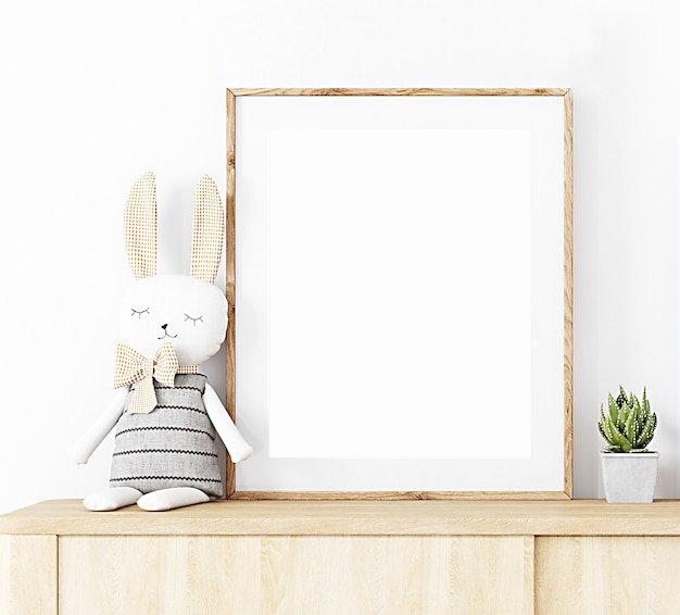 Frame mockup chest of drawers with plush hare