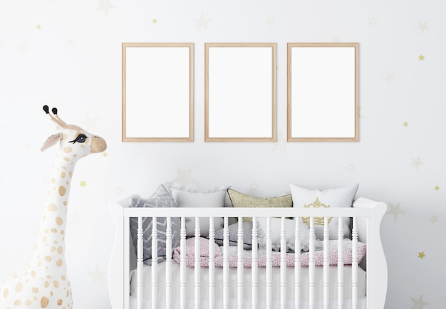 Frame mockup in childrens room with white walls