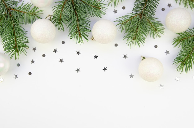 Frame mockup christmas composition with pine branches and balls