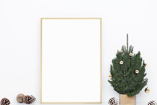 クリスマスツリーとフレームモックアップクリスマスの装飾