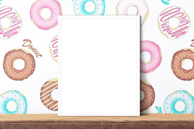 Frame mockup on donuts background