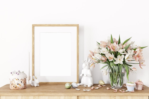 Frame mockup and easter decor with flowers