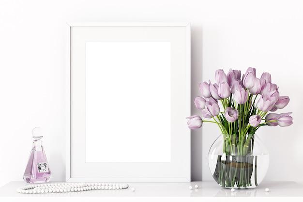 紫色の花でお祝いのフレームモックアップ