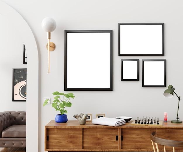 Frame mockup in interior 3d illustration