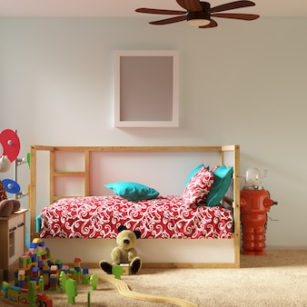 Frame mockup in kids bedroom