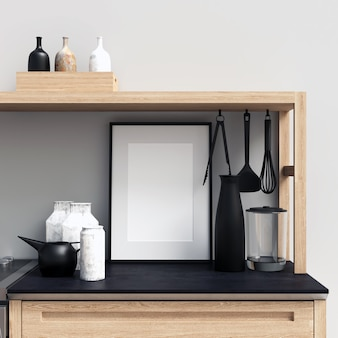 Frame mockup on kitchen cabinet with decorations