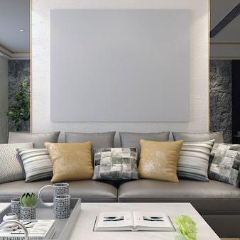 Frame mockup on living room with decorations