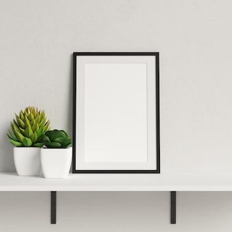 Frame Mockup on White Shelf with Minimalist Plant Decoration