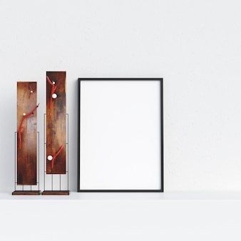 Frame Mockup Poster Mockup in White Interior with Decoration