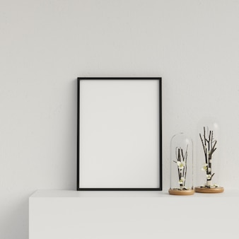 Frame mockup poster mockup interior with decoration