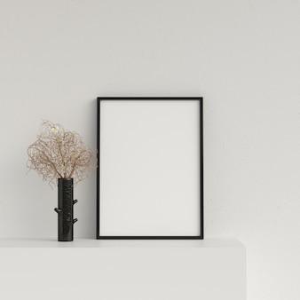 Frame mockup poster mockup interior with decoration