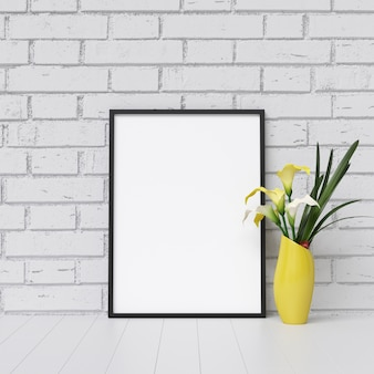 Frame mockup on white brick wall with plant decoration