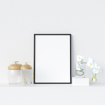 Frame mockup in white interior with decoration