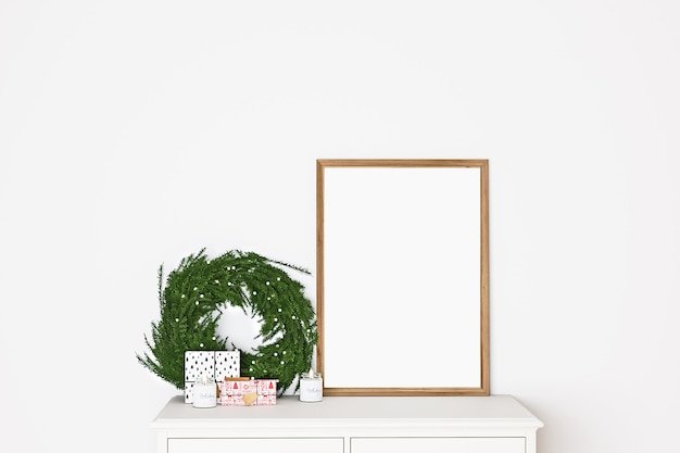 Frame mockup with christmas wreath
