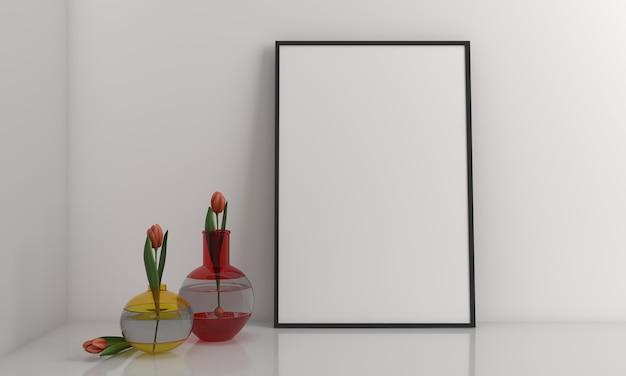 꽃병이 있는 프레임 모형