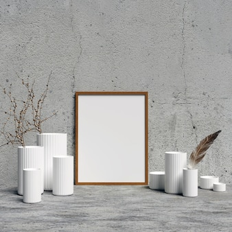 Frame Mockup with White Interior Decoration Vases