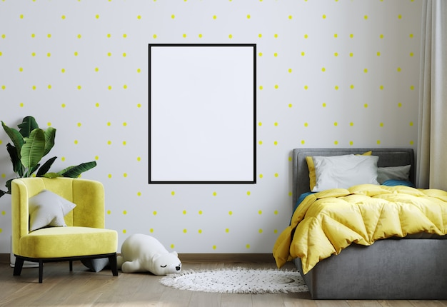 Frame mockup in yellow child room interior. nursery interior in scandinavian style. 3d rendering