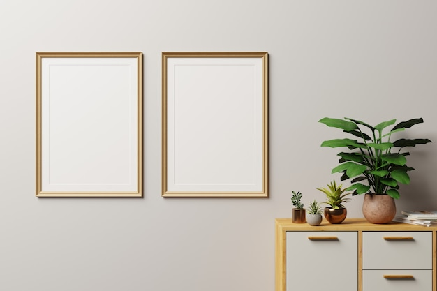 Frame in modern interior wall., close up, living room