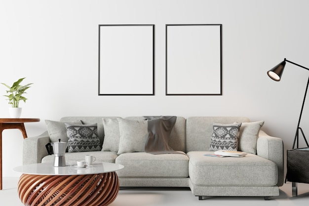 Frame in modern interior wall., living room, scandinavian style
