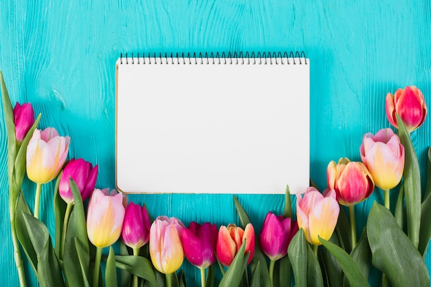 Frame notebook around colorful tulips