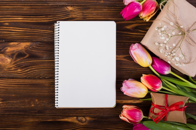 Frame notebook decorated by tulips and present boxes