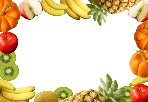 흰색 바탕에 다채로운 모듬된 신선한 익은 과일의 프레임