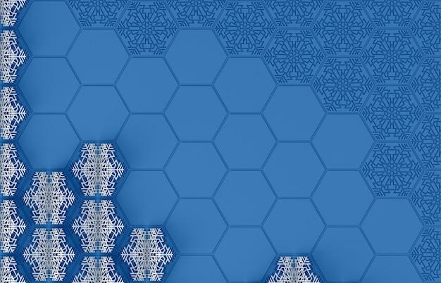 복잡한 threedimensional 눈송이 3d 그림의 프레임