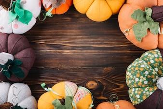 Frame of fabric pumpkins