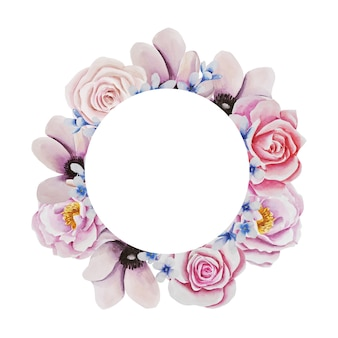 Рамка из цветов. акварель