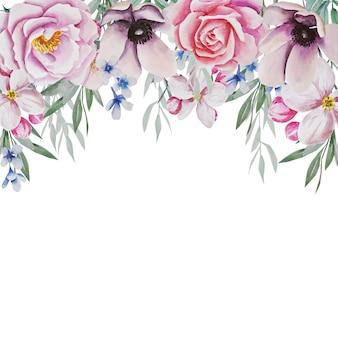 花のフレーム。水彩イラスト