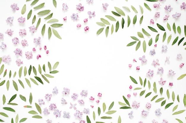 Рамка из лепестков сиреневого цветка, зеленые листья