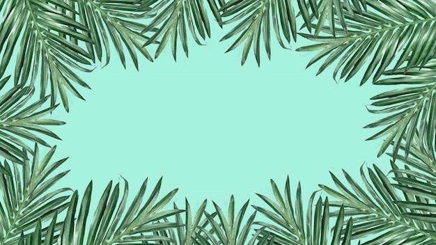 ヤシのフレームは、白い背景に残します。テキストのためのスペース。夏の休日のコンセプト