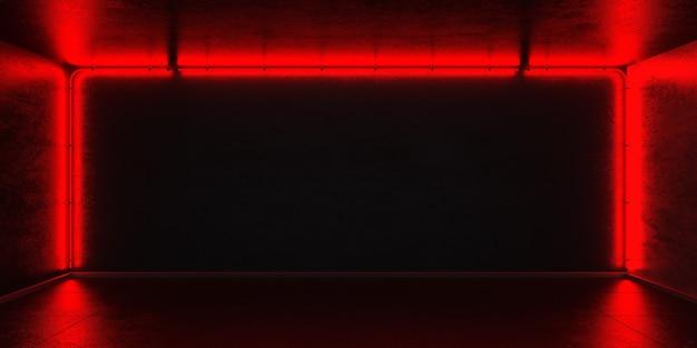 나이트 클럽 룸의 내부 콘크리트 벽에 붉은 네온 튜브의 프레임