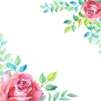 白い背景の上の緑の葉と赤いバラのフレーム。ピンクの花のイラスト。母の日、誕生日、記念日、結婚式、その他の休日のグリーティングカード。