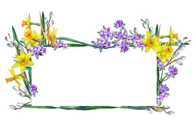 春の花のフレーム。黄色い水仙、ライラック、ヤナギの枝。水彩イラスト。