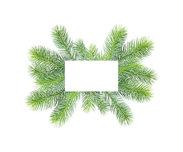 흰색 배경에 텍스트를 위한 공백이 있는 가문비나무 가지의 프레임입니다.