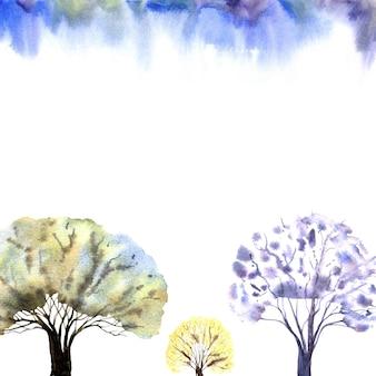 白い背景と青い空に冬の森のフレーム水彩イラスト