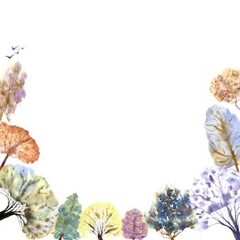 白い背景の上の冬の森のフレーム。色とりどりの木。手描きの水彩イラスト。