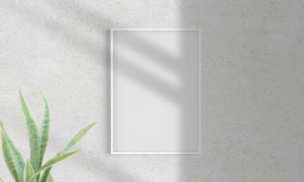Рамка на стене макет 3d рендеринга