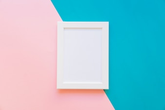 Frame on blue and pink background