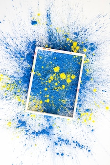 Frame on blue and yellow bright dry colors