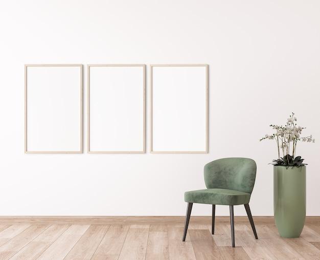白い壁のフレーム、モダンな部屋のデザインの緑の椅子