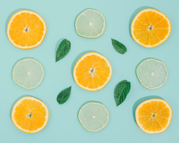 Frame of orange and lemon slices